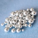 4-10mm round acrylic beads, silver-colored