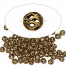 Antiqued bronze-coloured filigree bead, 4mm round, 25pcs