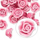 Beads, polymer clay, pink, 11x6mm flowers, 6pcs
