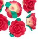 Bead, polymer clay, red, 19x10mm rose. Sold per pkg of 1.
