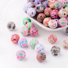 Round polymer clay beads, 12mm, colour mix, 10pcs