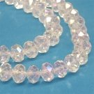 Faceted glass beads, 10x7mm rondelles, clear AB, 20pcs