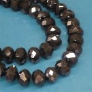 Faceted glass beads, 10x7mm rondelles, metallic black, 20pcs