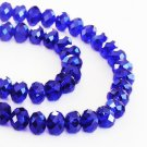 Faceted glass beads, 10x8mm rondelles, dark blue, 20pcs