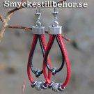 Simple earrings with cords and metal meads