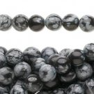 Bead, snowflake obsidian, 8mm round, 24st