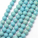Fossil, 10mm round beads, turquoise blue, 10pcs