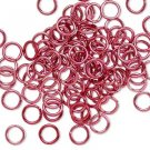 Aluminum jumprings, 6mm, pink/red