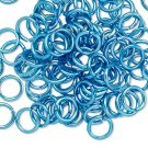 Aluminum jumprings, 8mm, turquise blue
