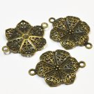 Filigree flower links, antique bronze