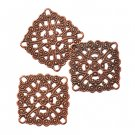 Filigree link drop, 28x28mm, antique copper-plated, 1pc