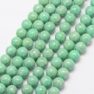 Fossil, 10mm round beads, sea green, 10pcs