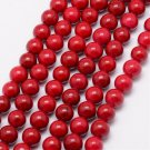 Fossil, 6mm round beads, red, 30-32pcs