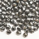 Czech Fire Polished faceted beads, 4mm round, Hematite, 100pcs