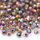 Czech Fire Polished faceted beads, 4mm round, Crystal - Vitex, 100pcs