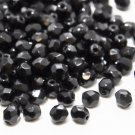 Czech Fire Polished faceted beads, 4mm round, Jet, 100pcs