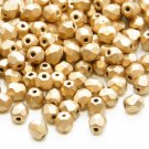 Czech Fire Polished faceted beads, 4mm round, Matte Metallic Flax, 100pcs