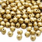 Czech Fire Polished faceted beads, 4mm round, Matte Metallic Aztec Gold, 100pcs