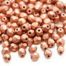Czech Fire Polished faceted beads, 4mm round, Matte Metallic Copper, 100pcs