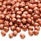Czech Fire Polished faceted beads, 4mm round, Matte Metallic Dark Copper, 100pcs