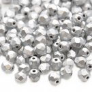 Czech Fire Polished faceted beads, 4mm round, Matte Metallic Silver, 100pcs