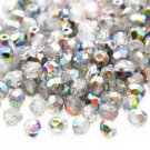 Czech Fire Polished faceted beads, 4mm round, Crystal - Vitrail, 100pcs