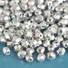 Czech Fire Polished faceted beads, 4mm round, Silver, 100pcs