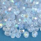 Czech Fire Polished faceted beads, 4mm round, Light Sapphire AB, 100pcs