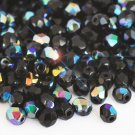 Czech Fire Polished faceted beads, 4mm round, Jet AB, 100pcs