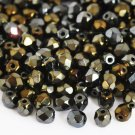 Czech Fire Polished faceted beads, 4mm round, Iris Brown, 100pcs