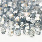 Czech Fire Polished faceted beads, 4mm round, Coated Half-Silver, 100pcs