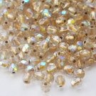 Czech Fire Polished faceted beads, 4mm round, Copper-Lined Crystal AB, 100pcs