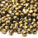 Czech Fire Polished faceted beads, 4mm round, Gold Bronze, 50pcs