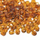 Czech Fire Polished faceted beads, 4mm round, Dark Topaz, 100pcs
