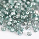 Czech Fire Polished faceted beads, 4mm round, Coated Half-Silver Teal, 100pcs