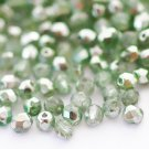4mm Czech fire-polished beads, crystal/olivine