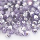 Czech Fire Polished faceted beads, 4mm round, Coated Half-Silver Violet, 100pcs