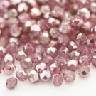 Czech Fire Polished faceted beads, 4mm round, Coated Half-Silver Plum, 100pcs