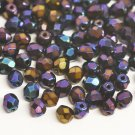 Czech Fire Polished faceted beads, 4mm round, Iris Blue, 100pcs