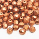 Tjeckiska Fire Polished facetterade pärlor, 6mm rund, Matte Metallic Copper, 50st