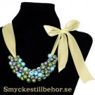Beautiful party necklace with satin ribbon and glass pearls