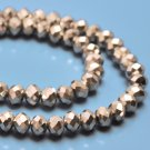 Faceted glass rondelle bead, 4x6mm, silver-coloured, 95-98pcs