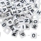 Bead, acrylic, white with black letters, 6x6mm cube, 20 beads