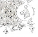 Charm, horse head, silverplated, 6x6mm, Sold per pkg of 10
