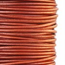 Genuine leather cord, 2mm, metallic copper, priced per 1m