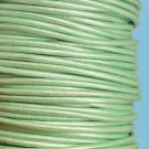 Genuine leather cord, 2mm, metallic mint green, priced per 1m