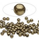 Round metal beads, antique bronze, 4mm