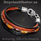 Bracelet with leather cords and wooden beads