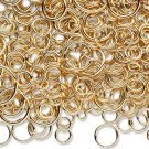 Jumpring mix, gold-plated, 3-12mm round, 18-22gauge, sold per pkg of 5g