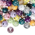 Color mix, 8mm round, acrylic bead with stars. Sold per pkg of 20 beads.